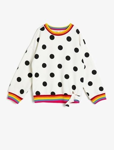 Koton Kids Puantiyeli Sweatshirt Ekru